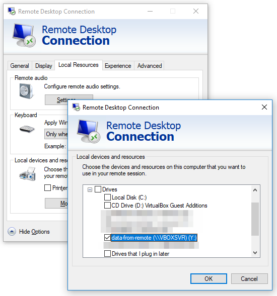 How do I download files in a Remote Desktop Session over SSH